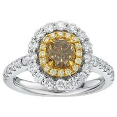 GIA 1.15 Carat Fancy Deep Brownish Greenish Yellow Diamond 18k Ring