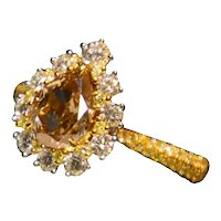 GIA 1.52 Carat Fancy Brown-Yellow Diamond 18k Ring