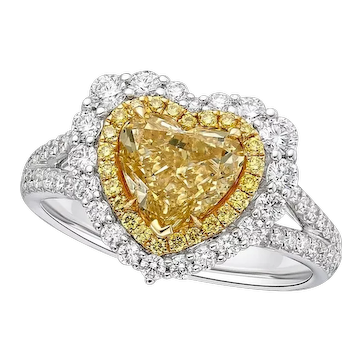 GIA 2.16 Carat 18k Fancy Yellow Diamond Ring in Heart Shape