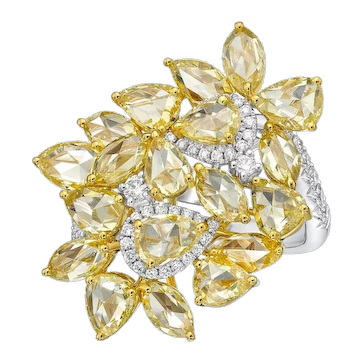 KAHN Rose cut yellow diamond / fancy shape Yellow Diamond 18k Ring