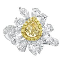18k Diamond Ring with GIA graded 0.64CT Fancy Brownish Yellow Pear Diamond