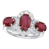 KAHN 3-Stone 18k Ruby Ring from Burma , Total 4.31 Carat