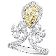 18K Gold and Diamond Ring with GIA Reported 2.26CT Fancy Light Brownish Greenish Yellow Diamond