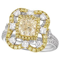 GIA graded  2.00CT W-X Cushion Center, Cocktail Ring in 18K Gold and Diamond