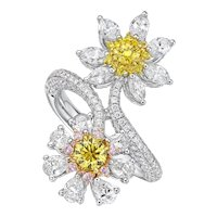 18K Gold and Diamond Ring with 2 GIA reported Fancy Vivid Round Diamonds