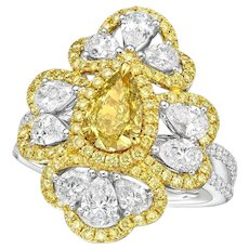 GIA 1.03 Carat Fancy Deep Brownish Greenish Yellow Diamond 18K Ring