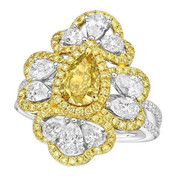 GIA 1.03 Carat Fancy Deep Brownish Greenish Yellow Diamond 18K Ring