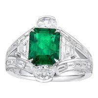 GIA 2.44 Carat 18k Zambia Emerald Diamond Ring
