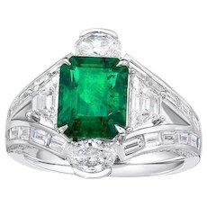 GIA 2.44 Carat 18k Zambia Emerald Diamond Ring