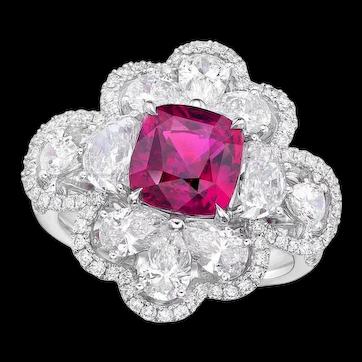 KAHN GRS 3.11 Carat 18k Unheated Pink Sapphire Ring