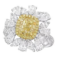 18K Gold and Diamond Ring with GIA graded 2.08CT Fancy Light Yellow Cushion Diamond