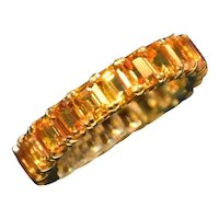 Eternity Orange Sapphire Ring in 18k Yellow Gold