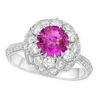 Kahn GIA 1.5 Carat 18k Unheated Purple, Pink Sapphire Ring