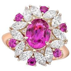 Kahn GIA 2.21 Carat 18k Pink Sapphire Ring- Heated
