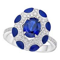 Kahn 1.84 Carat 18k Blue Sapphire Ring