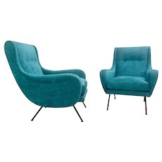 1950's Pair Of Italian Turquoise Armchairs.
