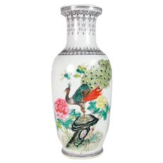 Hand Painted Peacock Vase