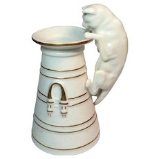 Spode Cat Peering into the Milk Jug Vase