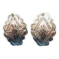 Southwestern Stamped Sterling Silver Diamond Shape Concho Clip-On Earrings