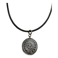 Vintage Silver Aztec Mayan Sun Calendar Pendent On Corded Necklace