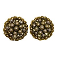Vintage Round Cluster Champaign Faux Pearl Clip-On Earrings