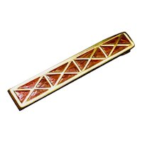 "Vintage ""SWANK"" Tie-Clip In Gold Tone & Chestnut Brown Faux Alligator From The 1950s-1960s"