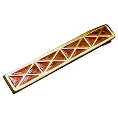 """Vintage """"SWANK"""" Tie-Clip In Gold Tone & Chestnut Brown Faux Alligator From The 1950s-1960s"""