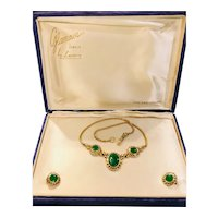 Lustern Art Deco Necklace & Earrings W/ Original Box