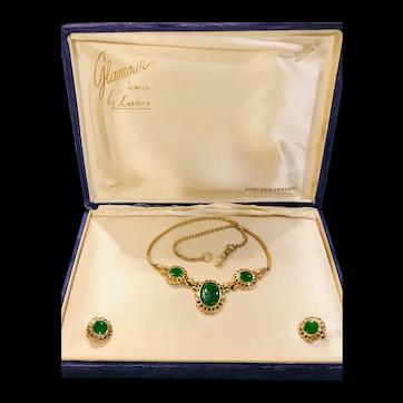 Lustern Art Deco Necklace & Earrings W/ Original Box