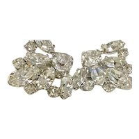 Vintage B. DAVID Rhinestones & Silver-Tone Clip-On Earrings