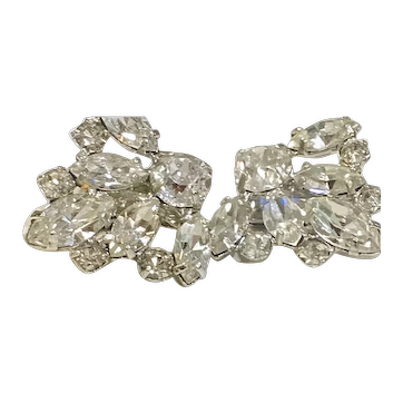 Vintage B. DAVID Rhinestones & Silver-Tone Clip-On Earrings
