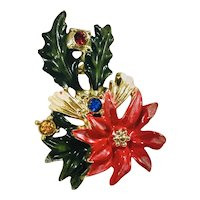 "Vintage ""BJ"" Beatrix Rhodium Flower W/ 3 Chrystal Rhinestones Holiday Brooch"