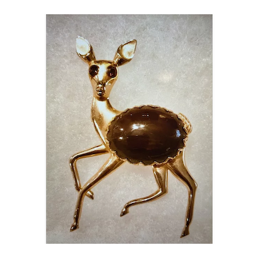 Vintage 1940s Brown Marbilized Cabochon Jelly Belly Deer Brooch