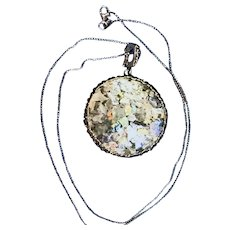 Hadas Roman Glass Pendent Set In Sterling Silver W/ Sterling Silver Chain