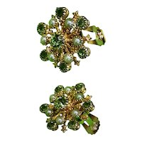 Celestial Starburst Clip-Back Earrings W/ Pale Green Rhinestones