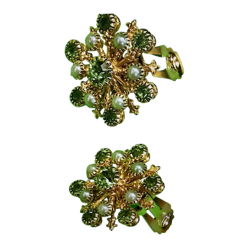 Celestial Starburst Clip-Back Earrings W/ Pale Green Rhinestones