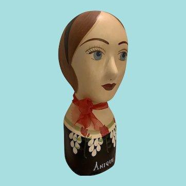 Vintage Mannequin Head Hat, Wig, Scarf Display