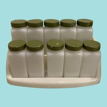 Vintage set of 10 Milk Glass Spice Jars With Plastic Spice Rack