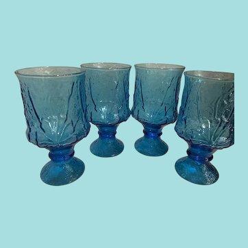 4 Vintage Anchor Hocking Glassware Rain Flower Blue Glasses
