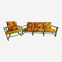 Bamboo rattan mid century sofa and armchair set by Ficks Reed vintage
