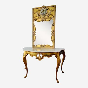 Italian Regency Giltwood Calacatta Marble Console Table and Mirror Set