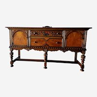 Jacobean Revival Sideboard Buffet Burlwood by Berkey and Gay 1920s