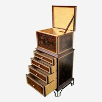 Leather lingerie chest/ dresser with gold embossed patterns and leopard design by Maitland Smith