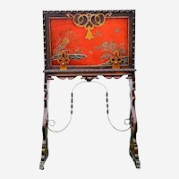 Oriental Asian secretary desk lacquer with a key