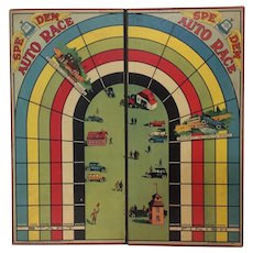 Vintage Auto Race Speedem Game Board circa 1928 - Industrial Graphic Art