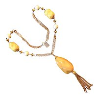Huge Carved Bakelite Bead and Chain Tassel Necklace