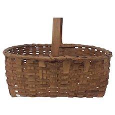 Antique Connecticut Splint Large Gathering Farm Basket with Original Patina