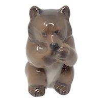 Vintage Royal Copenhagen Bear Cub Eating Figurine #3014 Signed by Knud Kyhn