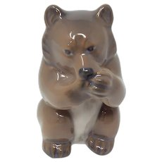 Vintage Royal Copenhagen Bear Cub Eating Figurine #3014 Signed by Knud Kyhn