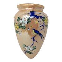 Bluebird Lusterware Wall Pocket - Hand Painted Birds & Blossoms Vintage Planter - Japan